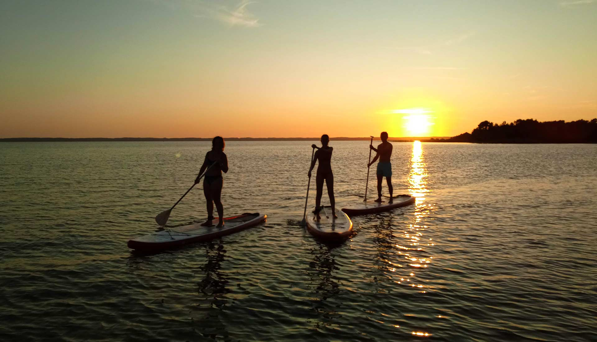Coucher de soleil en stand-up paddle Arcachon