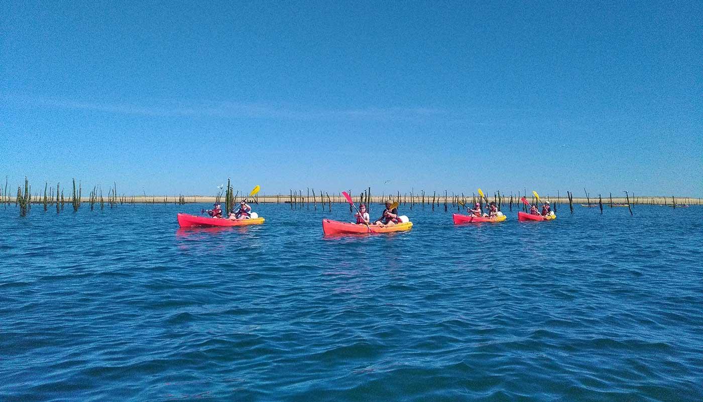 balade en canoë kayak sur le bassin d'arcachon