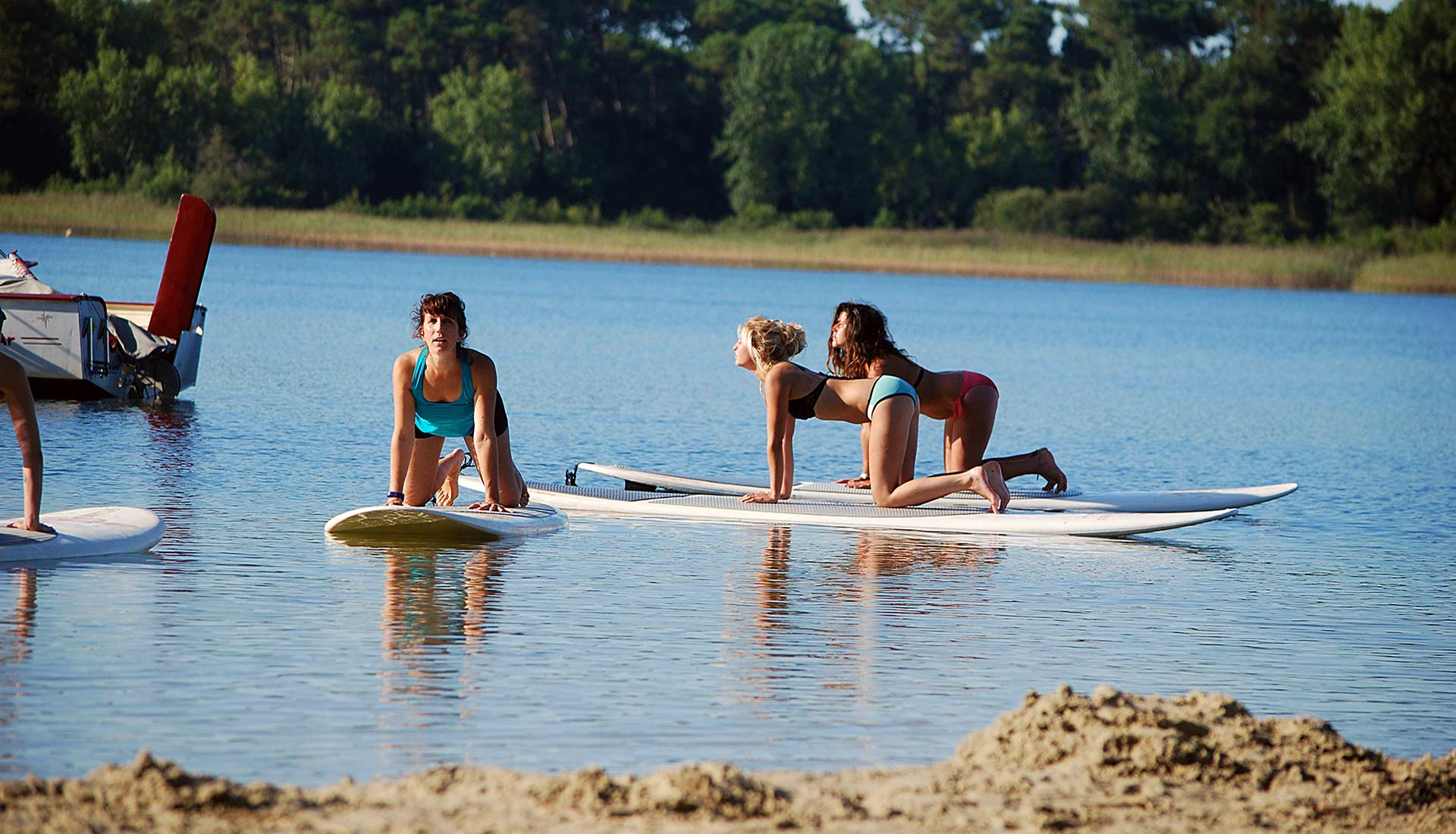 yoga en stand-up paddle cazaux